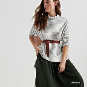 Lucky Brand Cloud Jersey Stripe Cowl Neck